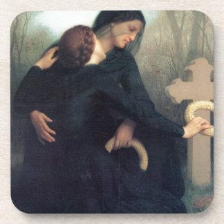 Posavasos Mujeres góticas Bouguereau de la cruz negra del