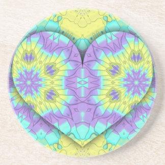 Posavasos Multi festivo vibrante+Forma coloreada del corazón