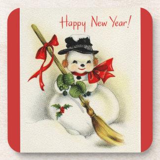 Posavasos Muñeco de nieve del Año Nuevo del vintage