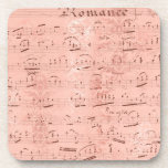 Posavasos Música de hoja rosa vintage