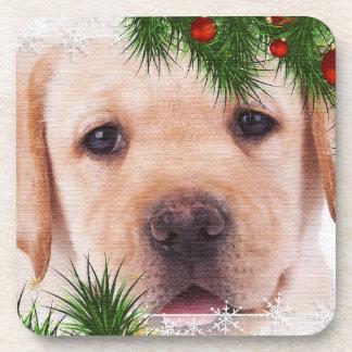 Posavasos Navidad amarillo de Labrador