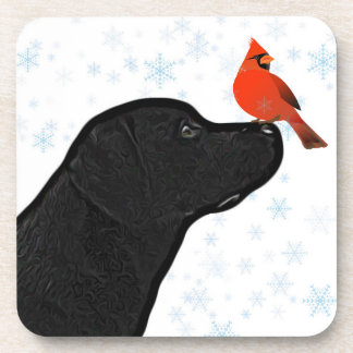 Posavasos Navidad negro de Labrador
