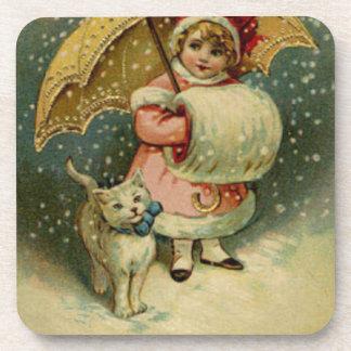 Posavasos Navidad retro del niño y del gato del vintage del