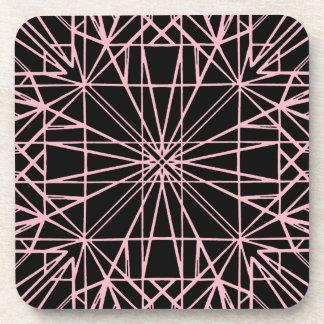 Posavasos Negro y pálido - simetría geométrica rosada