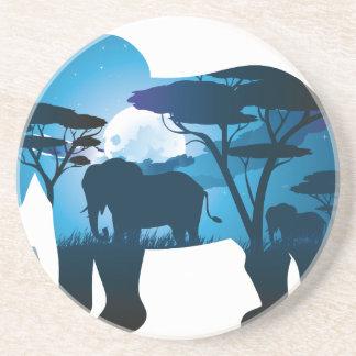 Posavasos Noche africana con el elefante 6