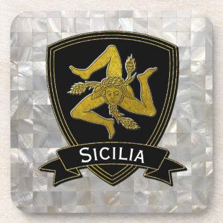 Posavasos Oro negro siciliano de Trinacria nacarado