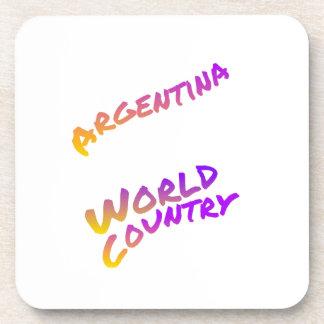 Posavasos País del mundo de la Argentina, arte colorido del
