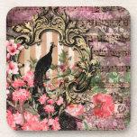 Posavasos Peacock de vintage con flor rosa de marco