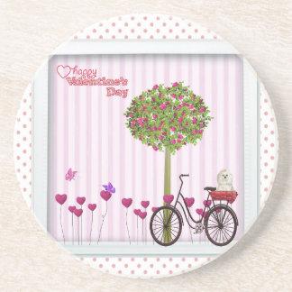 Posavasos Pequeño perro, cesta, bicicleta, árbol de la flor