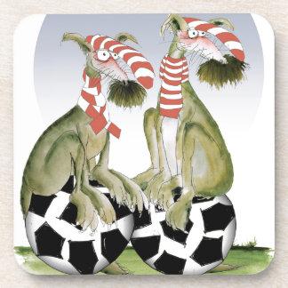 Posavasos perros del fútbol de los rojos cuando viene sábado