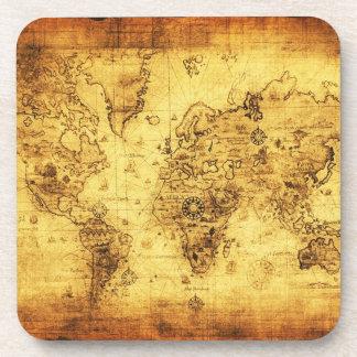 Posavasos Prácticos de costa del corcho del vintage del mapa