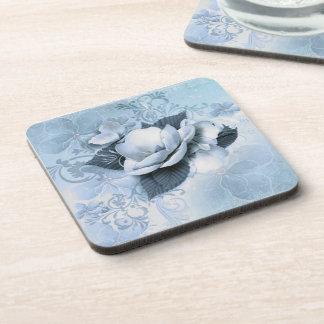 Posavasos Prácticos de costa florales azules artísticos