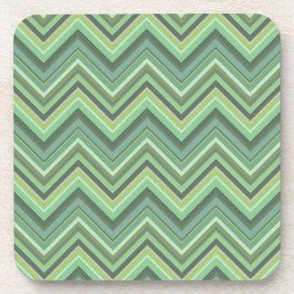 Posavasos Rayas del zigzag del verde verde oliva
