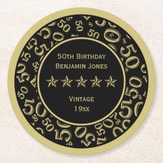 Posavasos Redondo De Papel 50.o Oro de la fiesta de cumpleaños/modelo redondo