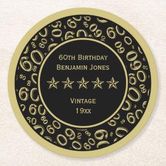 Posavasos Redondo De Papel 60.o Oro de la fiesta de cumpleaños/modelo redondo
