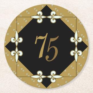 Posavasos Redondo De Papel art déco elegante del vintage del 75.o cumpleaños