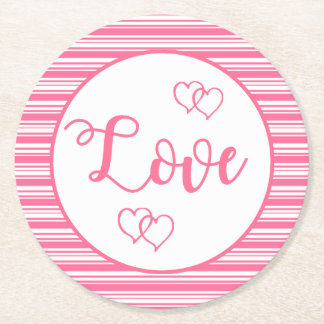 Posavasos Redondo De Papel Banquete de boda rosado y blanco de los corazones