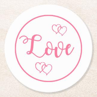 Posavasos Redondo De Papel Boda rosado y blanco del corazón del amor, ducha