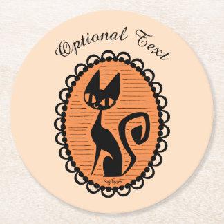 Posavasos Redondo De Papel Camafeo del gato negro de Halloween