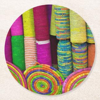 Posavasos Redondo De Papel Cestas coloridas en el mercado