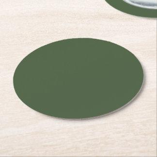 Posavasos Redondo De Papel Color sólido de Forest Green