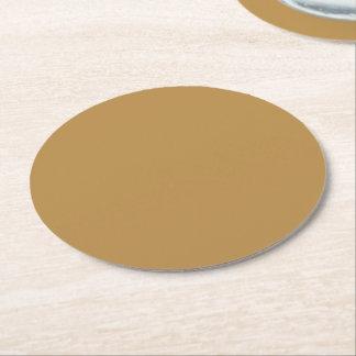 Posavasos Redondo De Papel Color sólido de la miel de Brown