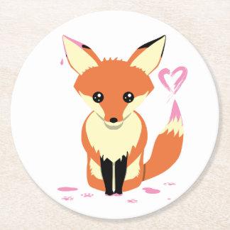 Posavasos Redondo De Papel Fox que pinta el práctico de costa rosado de la