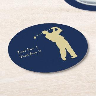 Posavasos Redondo De Papel Golfista de la silueta del oro en azul