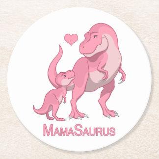 Posavasos Redondo De Papel MamaSaurus T-Rex y dinosaurios de la niña