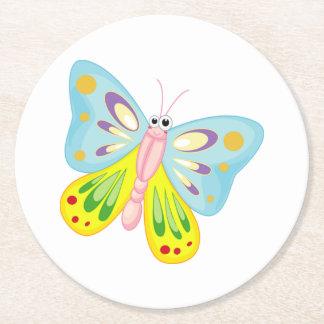 Posavasos Redondo De Papel Mariposa del dibujo animado