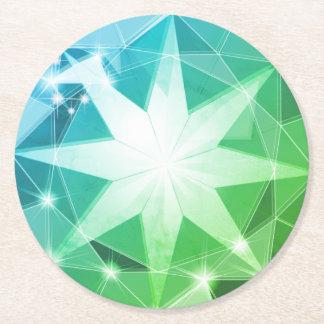 Posavasos Redondo De Papel Mirada del diamante artificial del compás de la
