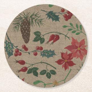 Posavasos Redondo De Papel Navidad botánico tradicional