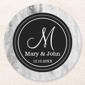 Posavasos Redondo De Papel Personalizado casando el modelo de mármol del