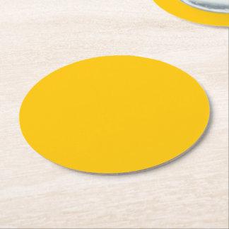 Posavasos Redondo De Papel Personalizar ambarino del color sólido él