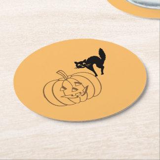 Posavasos Redondo De Papel Práctico de costa de papel - calabaza y gato negro