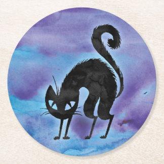 Posavasos Redondo De Papel Práctico de costa del fiesta del gato negro del