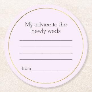 Posavasos Redondo De Papel Práctico de costa del papel del consejo del boda
