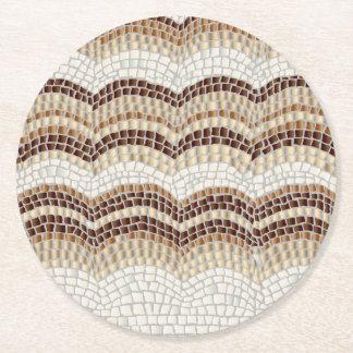 Posavasos Redondo De Papel Práctico de costa redondo del mosaico beige