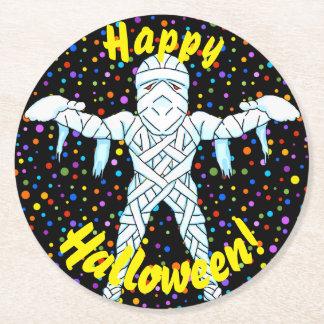 Posavasos Redondo De Papel Prácticos de costa de Halloween de la momia