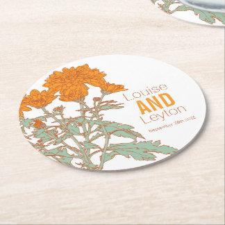 Posavasos Redondo De Papel Prácticos de costa de papel gráficos de la flor