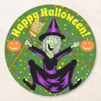 Posavasos Redondo De Papel Prácticos de costa felices de Halloween de la