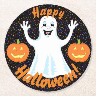 Posavasos Redondo De Papel Prácticos de costa felices de Halloween del