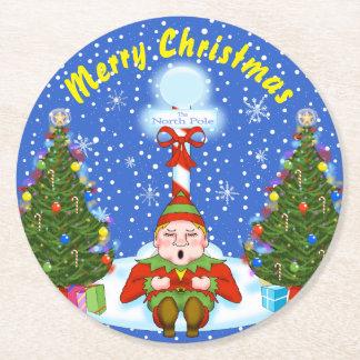 Posavasos Redondo De Papel Prácticos de costa soñolientos del navidad del