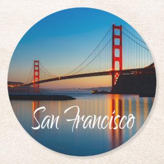 Posavasos Redondo De Papel Puente Golden Gate, San Francisco, California, los
