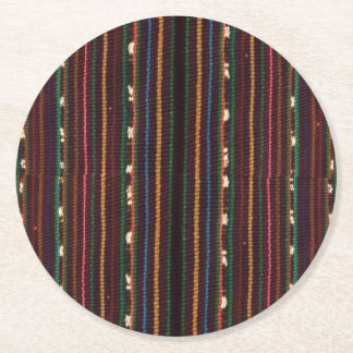 Posavasos Redondo De Papel Rayas del diseño del inca que tejen peruano