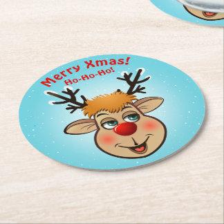 Posavasos Redondo De Papel Rudolph - el reno más famoso de todos