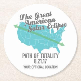 Posavasos Redondo De Papel Trayectoria 2017 del eclipse solar de la totalidad