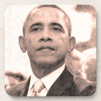 Posavasos Retrato abstracto de presidente Barack Obama 30x30