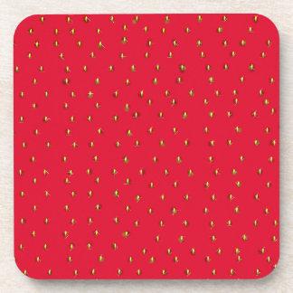 Posavasos Rojo divertido del fondo de la fresa