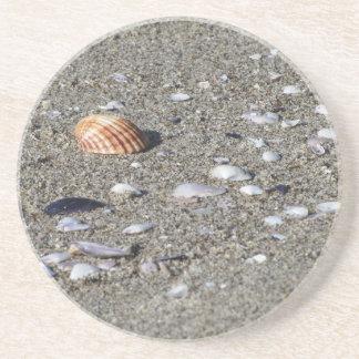 Posavasos Seashells en la arena. Fondo de la playa del